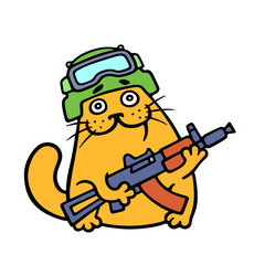 Funny cat special forces armed and ready for battle. Vector illustration.