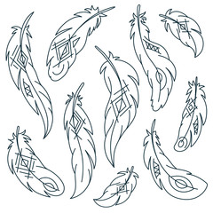 Set of bird feathers with ethnic pattern. Vector illustration.
