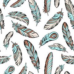 Ethnic bird feathers hand drawn, seamless pattern. Vector illustration.