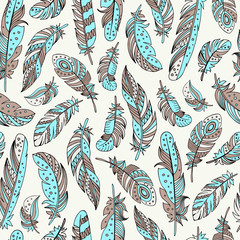 Decorative feathers seamless pattern. Hand drawn vector illustration.