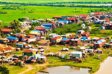 Floating village Phnom Krom, green rice fields, Tonle Sap, Siem Reap, Cambodia