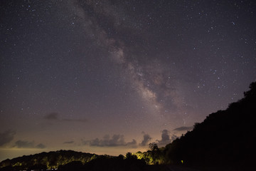 Milky Way from the Smoky Mountains with Car Lights