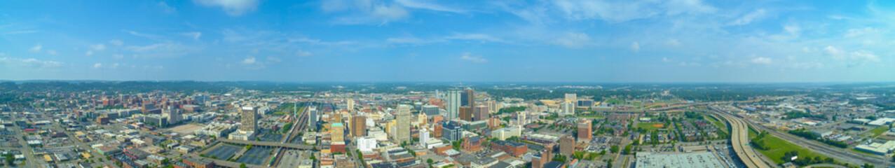 Aerial panorama Birmingham Alabama Downtown