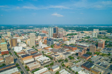 Aerial commercial photo Downtown Birmingham alabama all logos removed