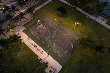 Basketball Game in the city at night