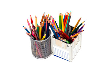 recycle floppy disk, Creative objects used for obsolete furniture. - Developed a color pencil box, concept recycle floppy disk, isolate white background