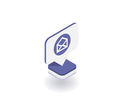Envelope, Mail icon, vector symbol in flat isometric 3D style isolated on white background. Social media illustration.