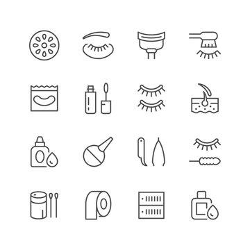 Set line icons of eyelash extension