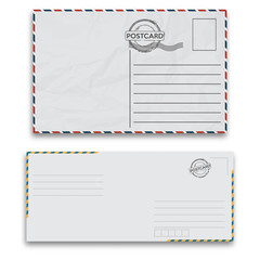 Mail envelopes with seal on white background. Vector illustration.
