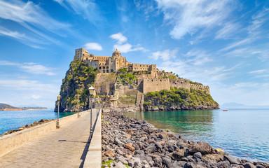 Daylight view of Aragonese Castle near Ischia island, Italy Fototapete