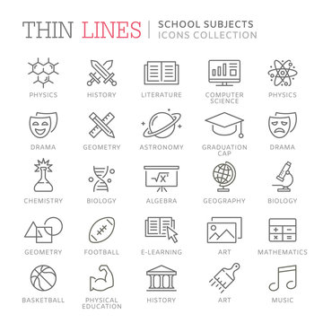 Collection of school subjects thin line icons