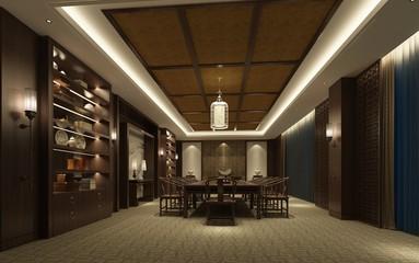 3d render of dining room