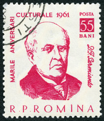 ROMANIA - 1961: shows Domingo Faustino Sarmiento (1811-1888), series Portraits