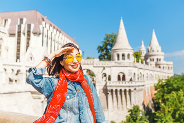 Pretty young asian traveler woman standing at Fisherman bastion fortress in Budapest, Hungary