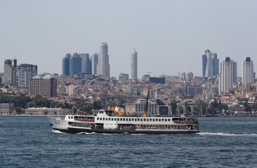 A ferry sails on the Bosphorus in Istanbul