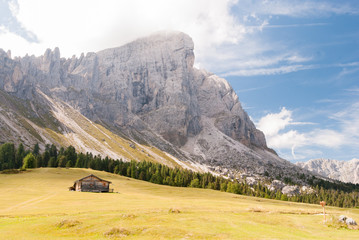 St. Magdalena, Italy - August 27, 2015: mountain hut to the base of the Dolomites