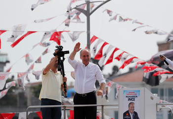 Muharrem Ince, presidential candidate of Turkey's main opposition Republican People's Party (CHP), addresses his supporters during an election rally in Istanbul