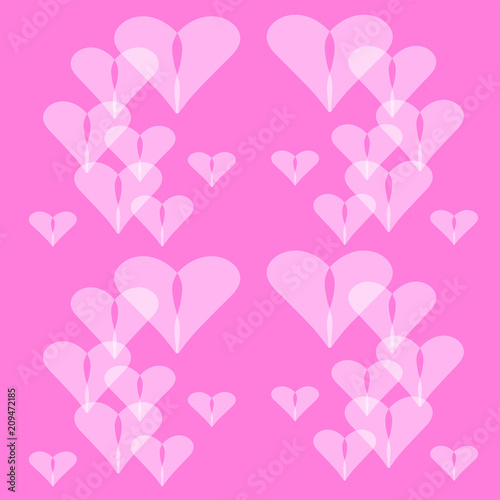 Heart Love Valentine Pink Abstract Hearts Pattern Day Romance Illustration Design Valentines Holiday Shape Texture Romantic