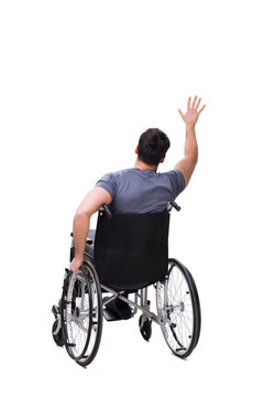 Man on wheelchair isolated on white background