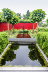 Green garden with a pond and a red wall