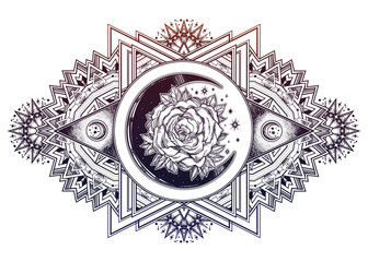 Ornate composition with sacred geometry moon rose.