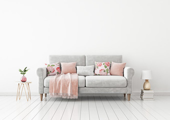 Interior wall mock up with gray sofa, bright pillows, pink plaid, pineapple lamp and plant in vase in living room with empty white wall. 3D rendering.