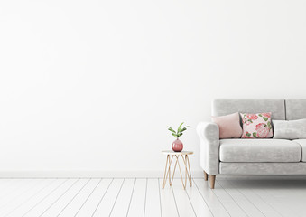 Interior wall mock up with gray sofa, pink pillows and plant in vase in living room with empty white wall. 3D rendering.