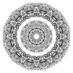 gold color round mandala on black background. vector illustration. for relax, tatoo, invitation.
