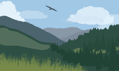 Illustration of mountain landscape with forest and meadow, under blue sky with clouds and flying bird