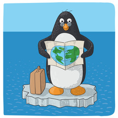 penguin struggling with climate change