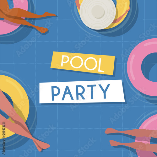 Pool Party Invitation Template Top View Pool Background People