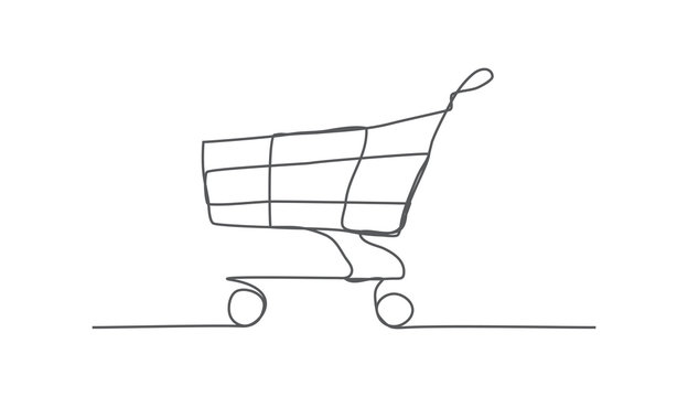 Shopping Cart One line drawing