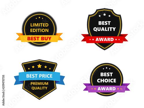 Set best price choice award premium quality template badge icon set best price choice award premium quality template badge icon vector maxwellsz