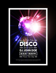 Disco party background with rays and disco ball