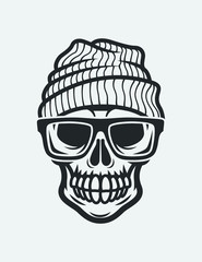 Skull in glasses and hat