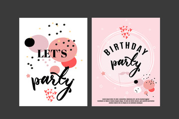 Birthday greeting card and party invitation template, set of vector illustrations, hand drawn style.
