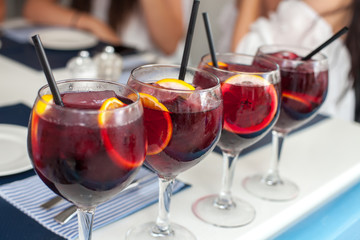 Fotobehang Cocktail Spanish sangria with fruit and ice, selective focus