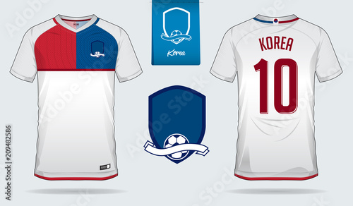 Soccer jersey or football kit template design for South Korea national football  team. Front and 9a53675bd