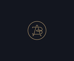 luxury letter AB logo design element