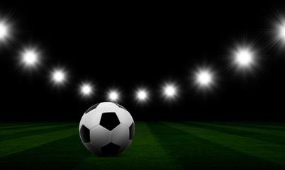 Soccerball on the football field.