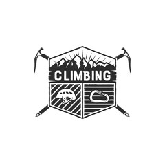 Mountain Adventure, Climbing Vintage Hand Drawn Emblem Template. Outdoor activity sport symbol. Carabiner and helmet elements. Monochrome design. Stock illustration isolated