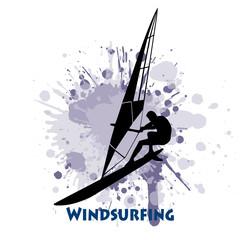 Windsurfer sail in grunge style.