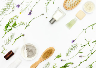 Natural cosmetics background, flat lay