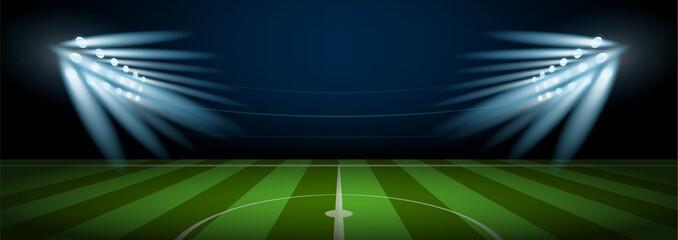 Empty football field arena stadium with stadium spotlight, vector illustration