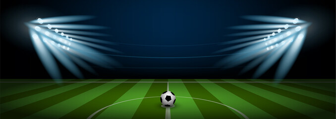 Empty football field arena stadium with realistic football on center and stadium spotlight, vector illustration