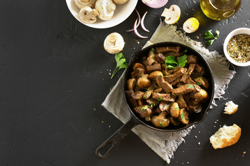 Beef stroganoff with mushrooms, top view