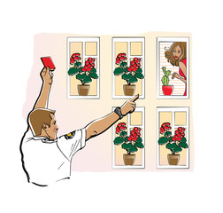 A man in a uniform shirt shows a red card to a girl in a window. Incorrect flowers. Point out a violation.