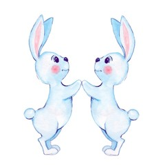 White rabbits. Watercolor illustration. Isolated on white background