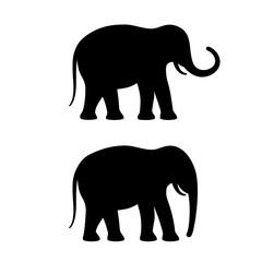Elephant vector silhouette icon set