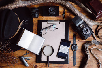 Overhead view of Traveler's accessories, Essential vacation items. Creative arrangement of things. Travel concept